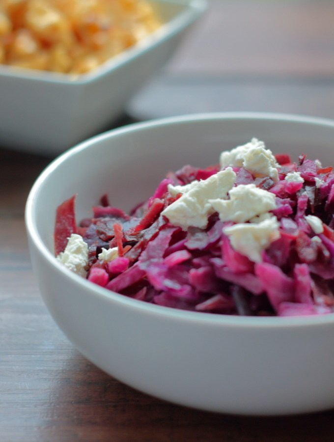 Red cabbage braised low and slow with balsamic for a subtle sweet and tangy flavor, then studded with goat cheese. Anthocyanin polyphenols never tasted so good.
