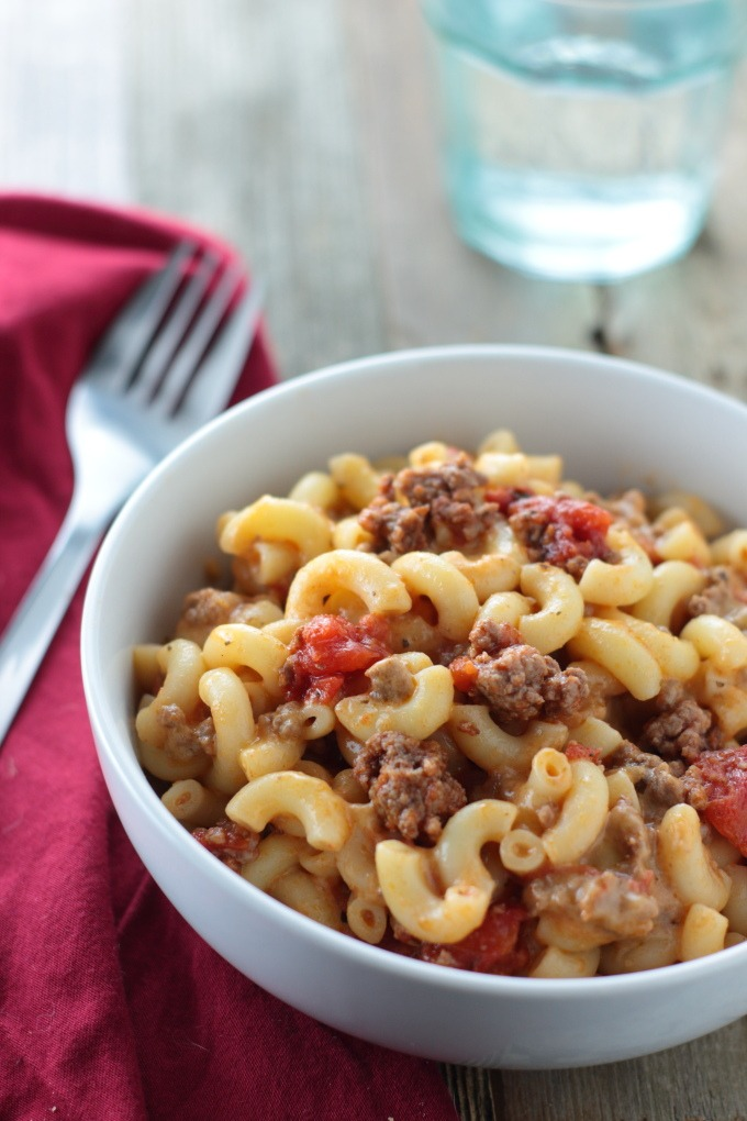 Whether you call it goulash or beefy macaroni and cheese, this hearty, cheesy pasta dish is a family favorite.