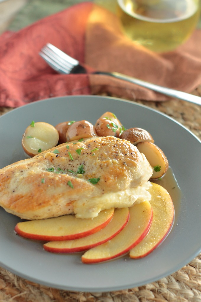 Gouda Stuffed Chicken with Apples - Chicken breasts are stuffed with cheese and served on an herbed cider reduction with tender apple slices. It doesn't get any more autumnal than this.