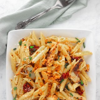 Penne with Crispy Artichoke Hearts and Garlicky Breadcrumbs