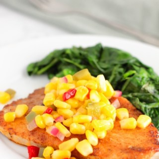 Spice Rubbed Pork Chops with Sweet Corn Relish