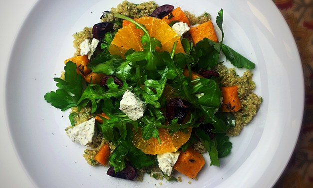 Roast butternut squash salad with goat's cheese, black cherries, quinoa & orange