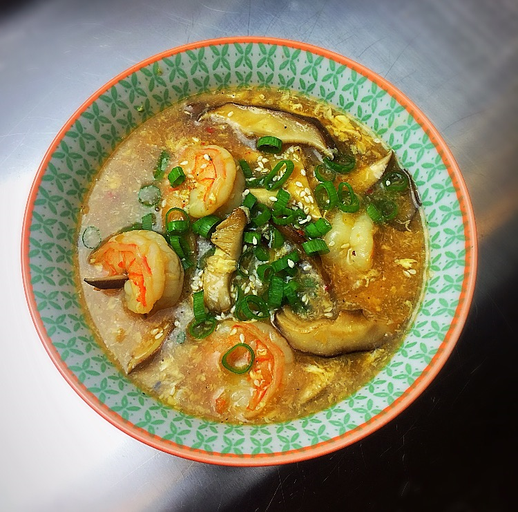 Homemade Hot & Sour Shrimp & Shiitake mushroom Soup
