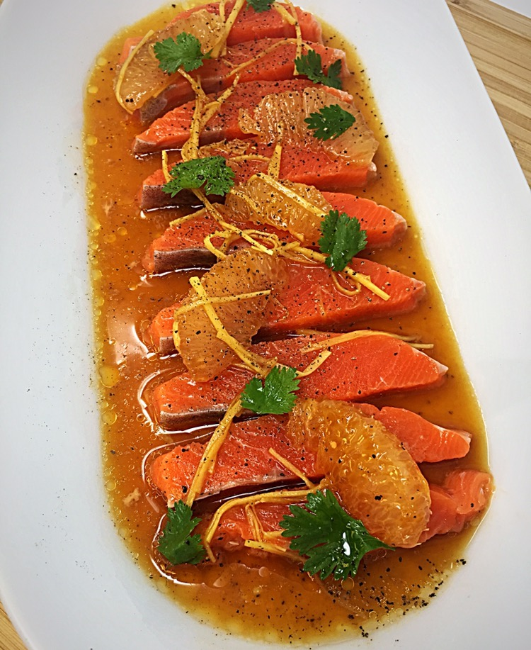 "The ""Red Blazer"" Sashimi of Salmon with Ginger and Sesame Oil"