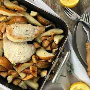 Pork Chops with Pears and Lemon - all in one pan! A really simple but out-of-this-world tasting tray bake. Pork, lemon, pears, rosemary and garlic.