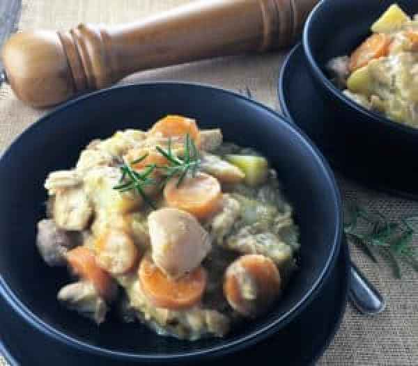 """""""Creamy"""" Mustard Chicken - 2 Way Dinner - a super easy and delicious chicken hotpot flavoured with mustard made all in one pot to serve 8 on the night, or 4 with a second meal of Chicken, Bacon & Potato Pots...totally tasty and totally time saving!"""