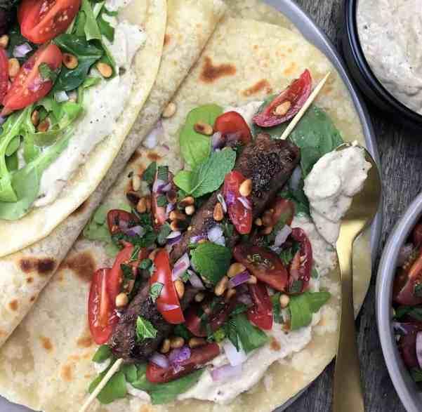 Lamb Kofta Wraps with Eggplant Yoghurt - moist & spiced ground lamb, combined with an ovenbaked eggplant & yoghurt processor sauce