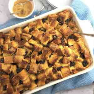 rum raisin bread pudding - crunchy on top with silky custard texture underneath