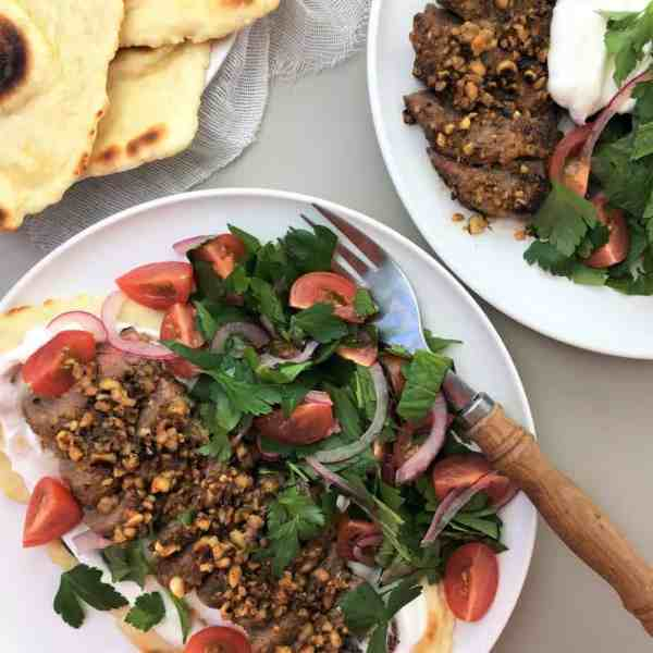Peanut beef with flatbread - a new way to pan fry steak