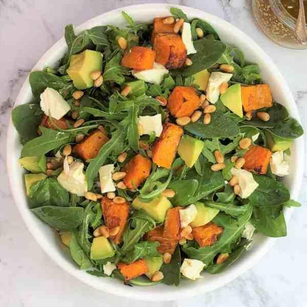 Pumpkin avocado feta salad - sweet pumpkin, creamy avocado & lemony feta
