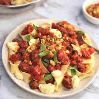 Fresh chorizo tomato pasta with bocconcini | fresh chorizo | chorizo pasta | fresh chorizo recipe | chorizo tomato pasta