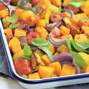 roast pumpkin bacon and tomato one pot one pan