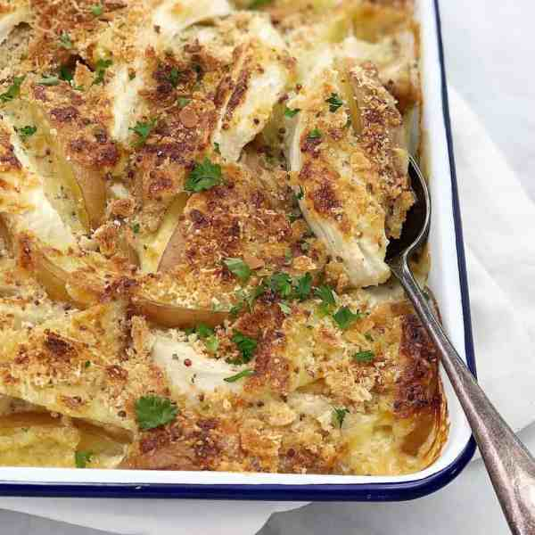 potato and fennel gratin - potato and fennel in a smooth creamy gratin sauce, with no need to make a bechamel sauce