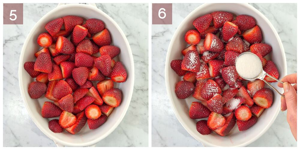 process shot showing how to cook strawberry crumble