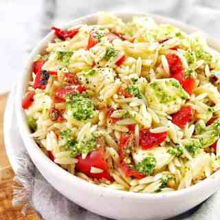 pasta salad in a white bowl