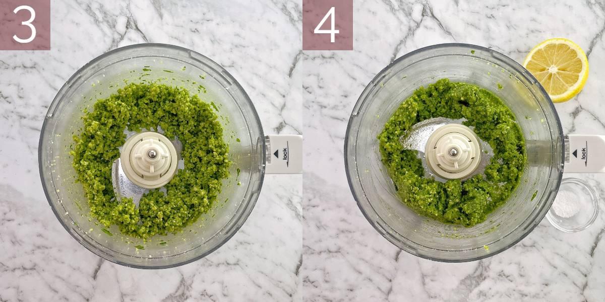 process photos showing how to make pesto recipe