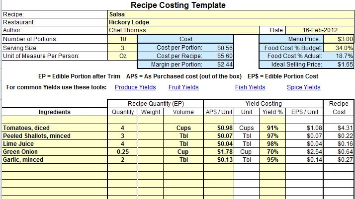 Recipe Excel Template. for restaurant software costing. how to ...