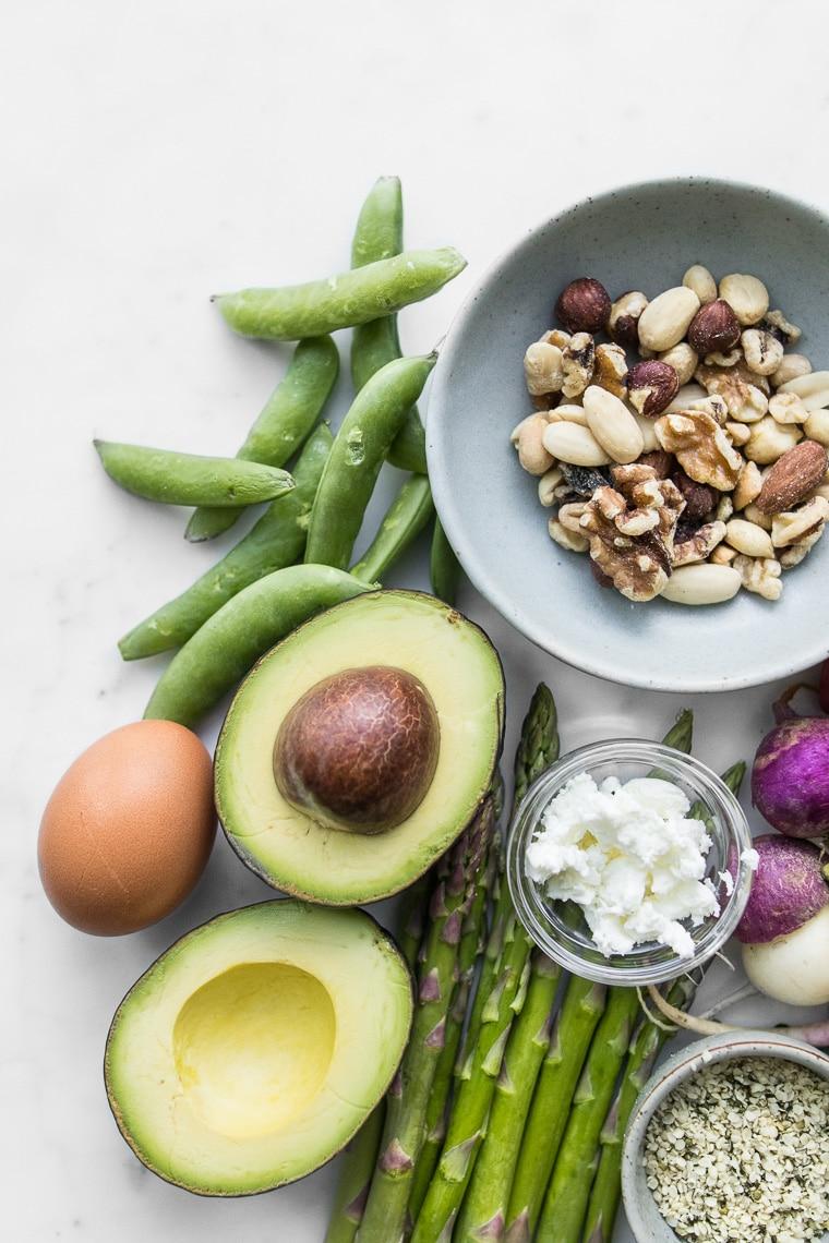Peas, avocado, egg, asparagus and goat cheese