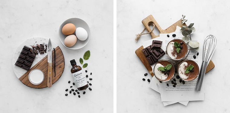 Flat lay of the chocolate coconut custard ingredients next to the three finished chocolate coconut custards garnished with mint leaves and coffee beans