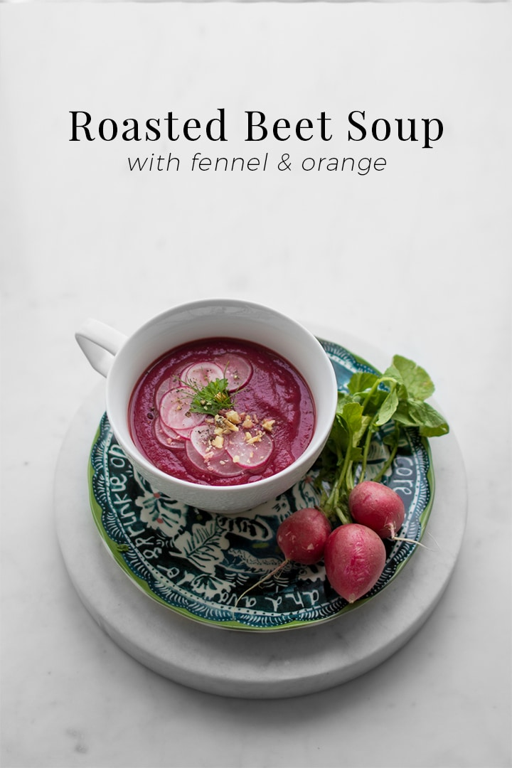 Using only 5 ingredients not including oil or salt and pepper, this roasted beet soup is creamy, rich and as visually beautiful as it is delicious. Whether served hot or cold, the colour when roasted, turns almost into a highlighter pink, sure to have everyone in awe of your stunning dish.