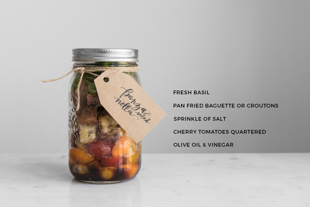 Panzanella Salad in a Jar with Ingredients List