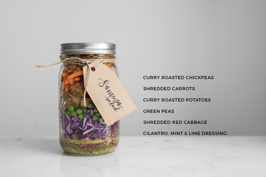 Samosa Salad in a Jar with Ingredients Text