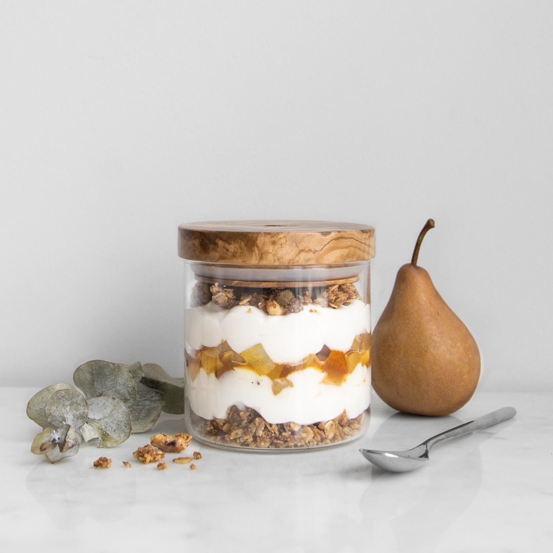 Roasted Pear and Walnut Streusel parfait in a jar with wooden lid