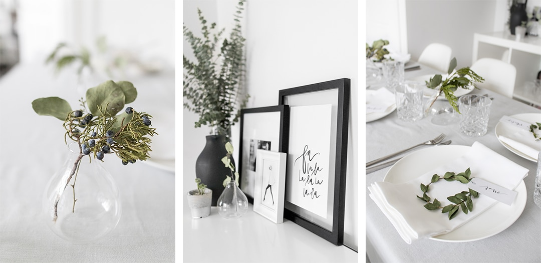 Images of decor of holiday brunch: juniper in vase, eucolyptus next to styled photos, and table setting with mini wreath