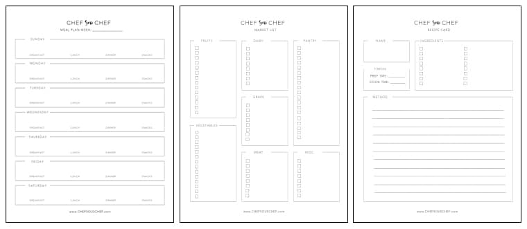 Meal Planning Template | Meal Plan Template How To Plan Shop Cook Chef Sous Chef