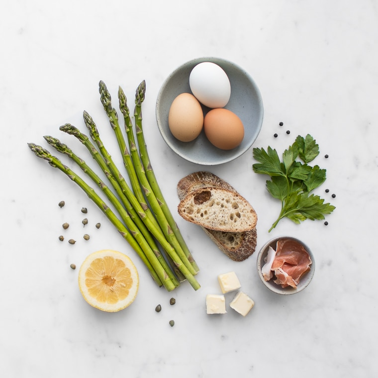Ingredient Flat Lay for Polonaise Asparagus Salad with Prosciutto