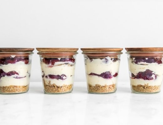 4 bourbon cherry cheesecakes in a jar
