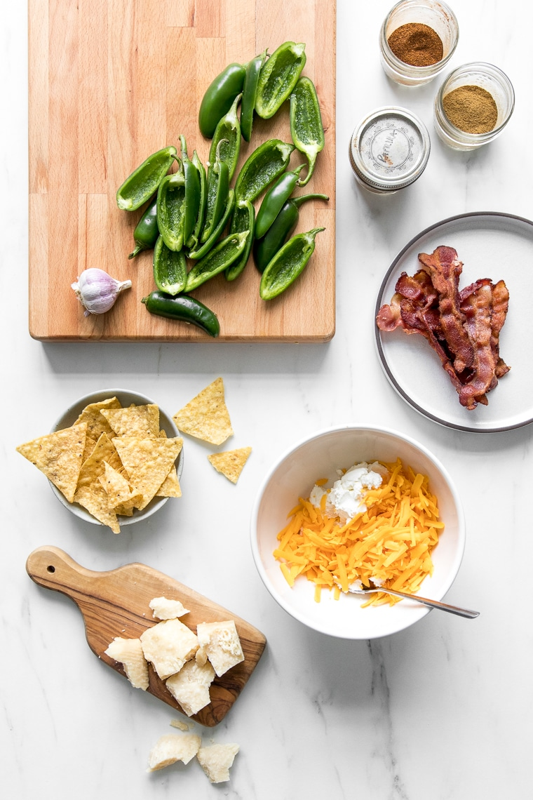 Various ingredients for making roasted jalapeno poppers