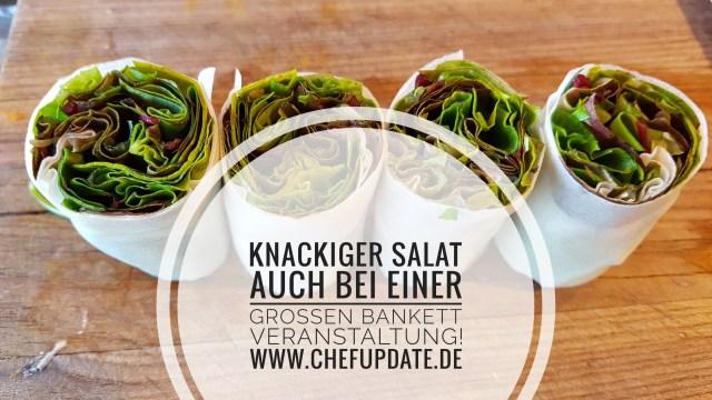 Knackige Salate auch bei einer großen Bankettveranstaltung. – Wir zeigen euch, wie es Mise en place Technisch umzusetzten ist.