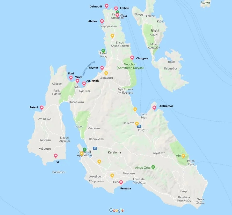 mappa delle spiagge di cefalonia