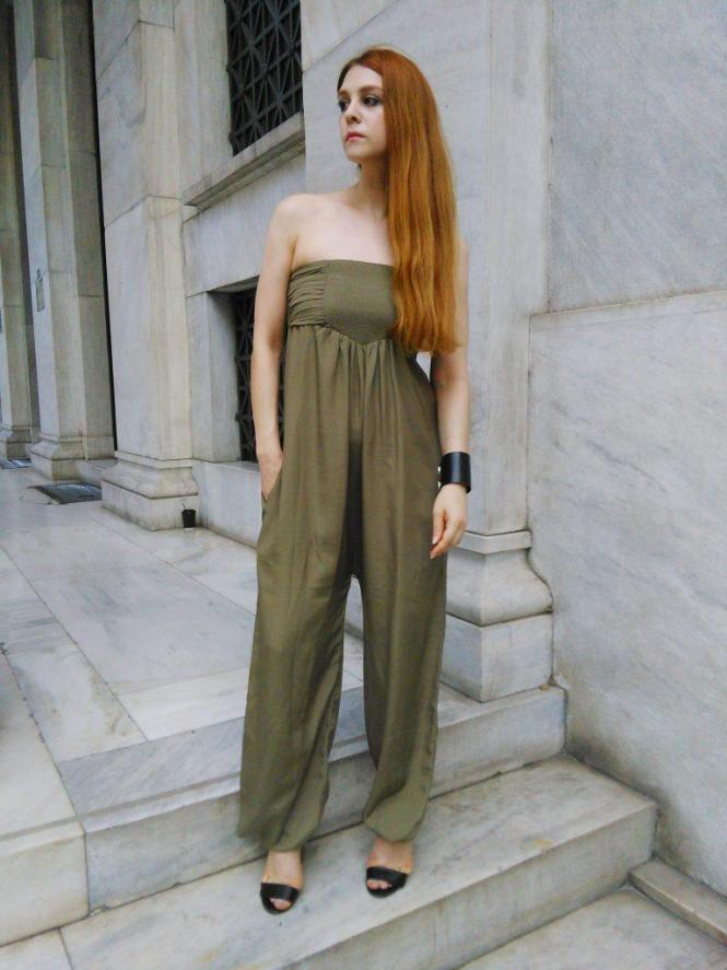 khaki jumpsuit vegan leather cuff