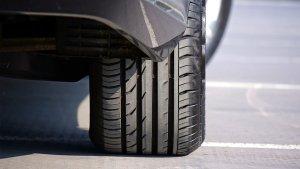 Back wheel of a car