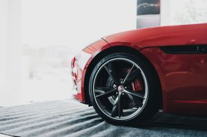 rims on red car