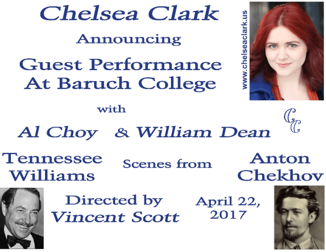 Chelsea Clark performs at Baruch College with Al Choy and William Dean, Vincent Scott directing.