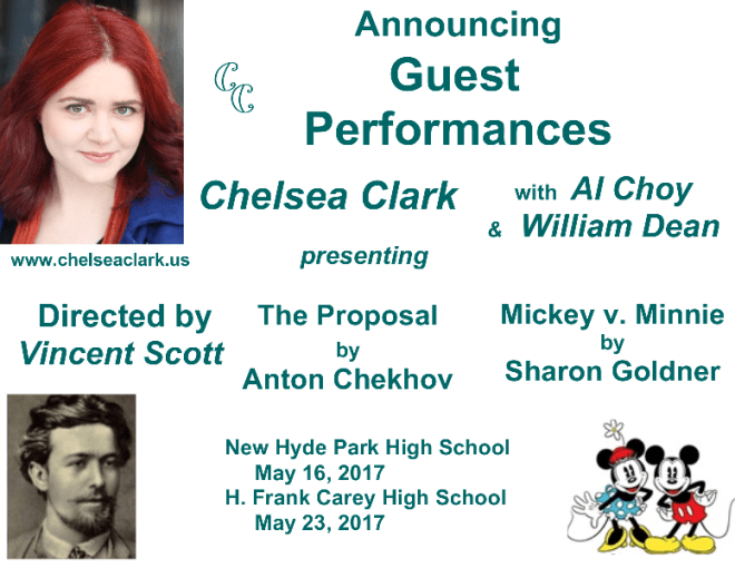 Chelsea Clark with Al Choy and William Dean in guest performances at two high schools, May, 2017