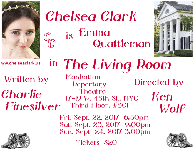 Chelsea Clark is Emma Quattleman in Charlie Finesilver's THE LIVING ROOM, directed by Ken Wolf at Manhattan Repertory Theatre