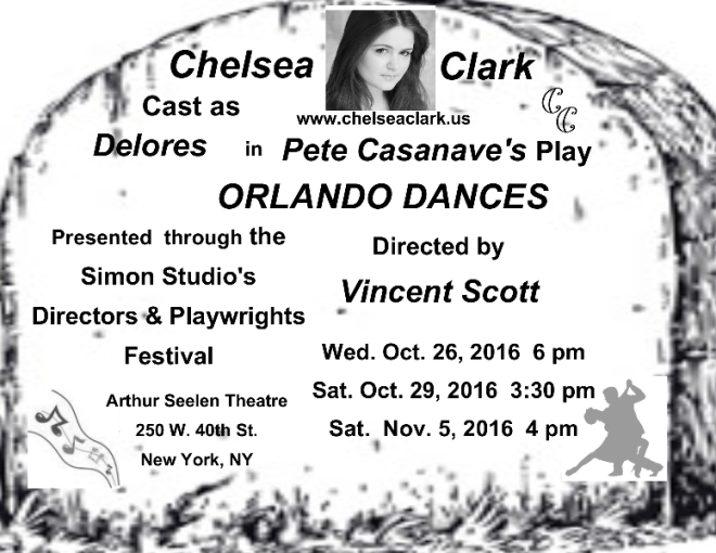 Chelsea Clark performs in Pete Casanave's play, ORLANDO DANCES, directed by Vincent Scott