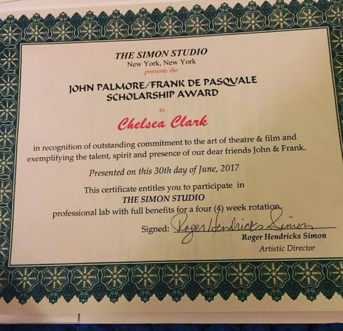 Chelsea Clark is the winner of the John Palmore/Frank De Pasquale 2017 Simon Studio Award