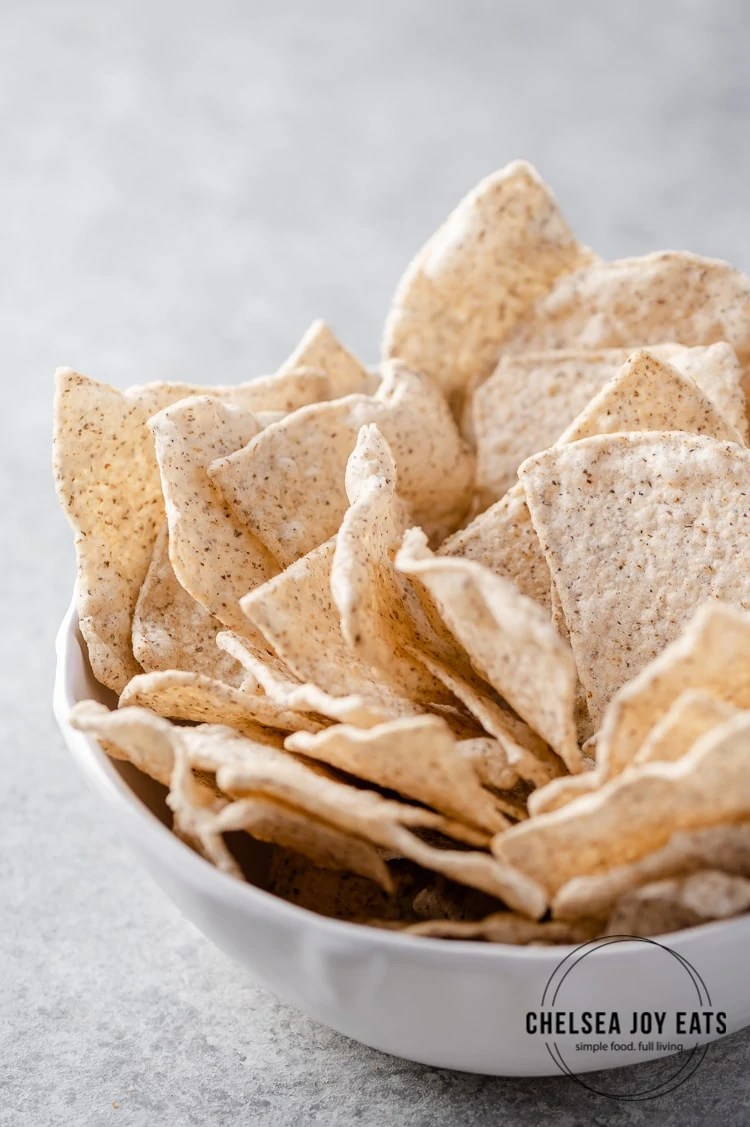 Closeup of Siete food tortilla chips in a bowl