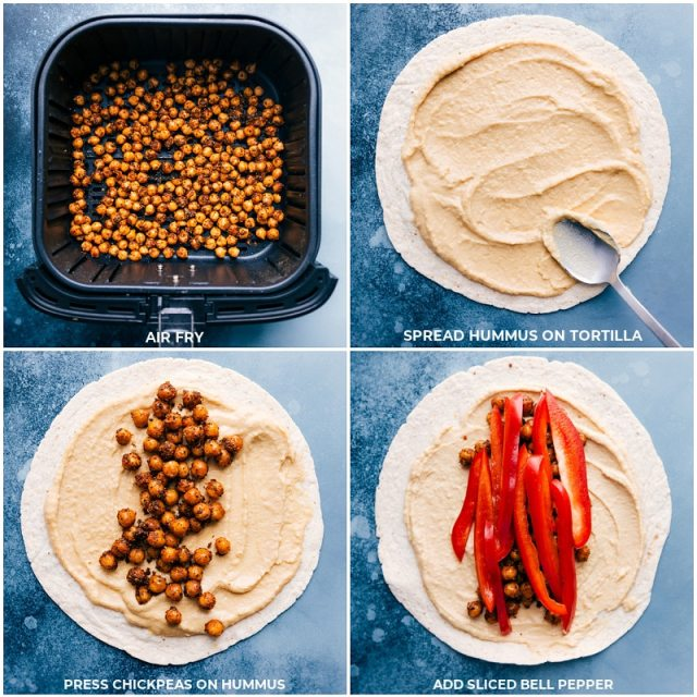Process shots-- images of the chickpeas being air fried and the hummus being added to the tortillas and the chickpeas and bell peppers being added on top