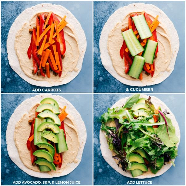 Process shots-- images of the carrots, cucumbers, avocados, and lettuce being layered into the tortillas for these hummus wraps