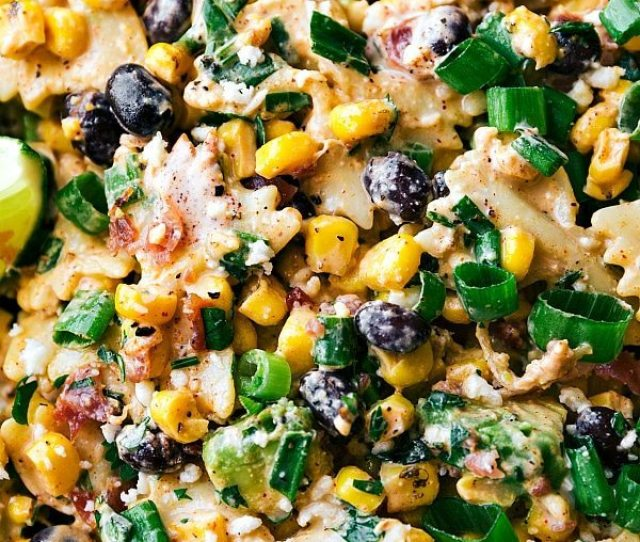 A Delicious Mexican Street Corn Pasta Salad With Tons Of Veggies Bacon And A