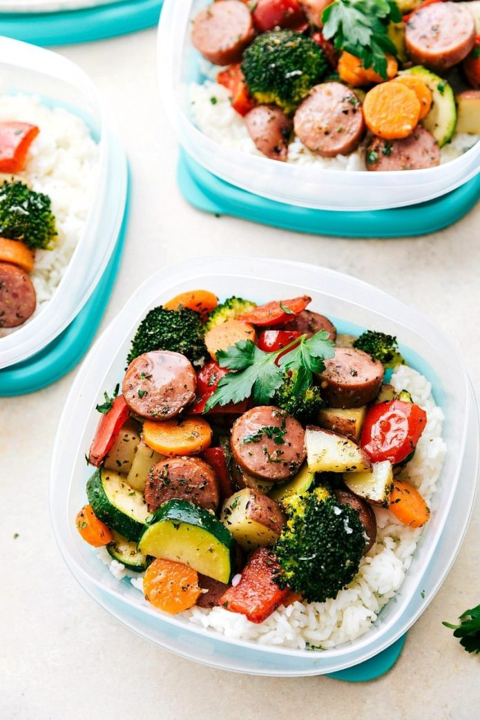 One pan healthy italian sausage and veggies meal prep easy and healthy