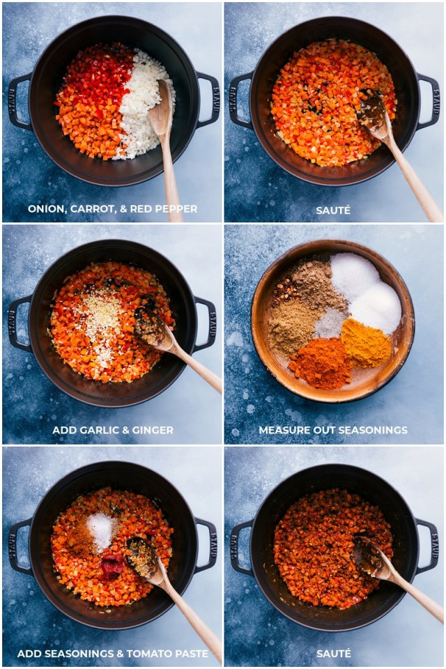 Process shots-- images of the veggies being added to a pot and being sautéed; the seasonings and tomato paste being added; everything being sautéed.