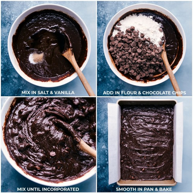 Process shots: finishing the brownie batter and smoothing it into the pan for this brownie recipe