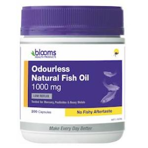 Blooms Omega 3 Odourless Natural Fish Oil 1000mg 200 Capsules